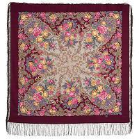 Страна чудес 1624-8, павлопосадский платок шерстяной (двуниточная шерсть) с шелковой бахромой