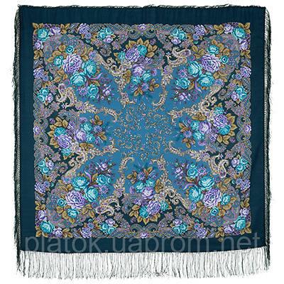 Страна чудес 1624-12, павлопосадский платок шерстяной (двуниточная шерсть) с шелковой бахромой