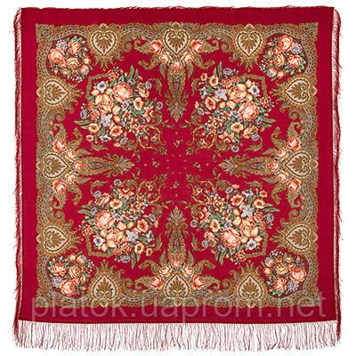 Магія почуттів 1629-5, павлопосадский хустку вовняної (двуниточная шерсть) з шовковою бахромою в'язаній