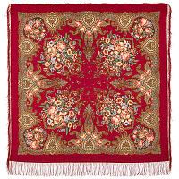 Магия чувств 1629-5, павлопосадский платок шерстяной (двуниточная шерсть) с шелковой вязаной  бахромой, фото 1