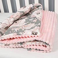 """Плед детский утепленный на плюше минки двусторонний, одеяло покрывало """"Пионы"""" 90*130см для девочки"""