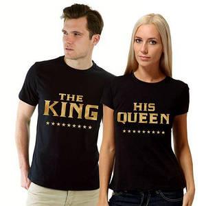 "Парные футболки ""King & Queen Gold"" чёрные"