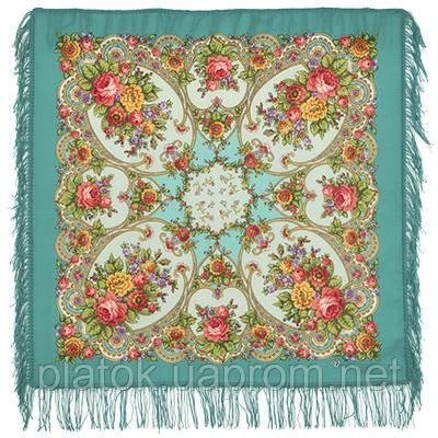 Нежные объятия 1641-11, павлопосадский платок шерстяной с шерстяной бахромой