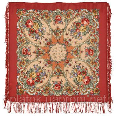 Нежные объятия 1641-3, павлопосадский платок шерстяной с шерстяной бахромой