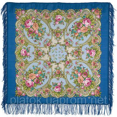 Нежные объятия 1641-13, павлопосадский платок шерстяной с шерстяной бахромой