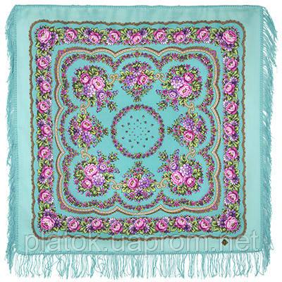 Цыганочка 1579-1, павлопосадский платок шерстяной с шерстяной бахромой