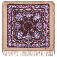 Цыганочка 1579-3, павлопосадский платок шерстяной с шерстяной бахромой