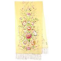 Полонез 1631-50, павлопосадский шарф шелковый крепдешиновый с шелковой бахромой