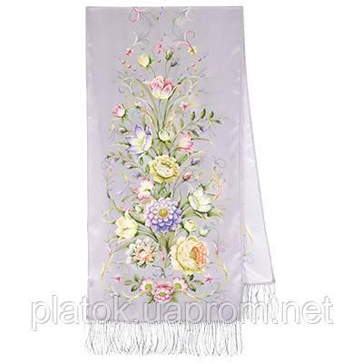 Полонез 1631-51, павлопосадский шарф шелковый крепдешиновый с шелковой бахромой