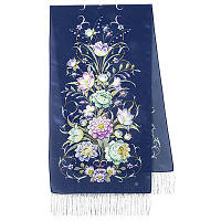 Полонез 1631-64, павлопосадский шарф шелковый крепдешиновый с шелковой бахромой