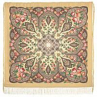 Розовые дали 1639-2, павлопосадский платок шерстяной (двуниточная шерсть) с шелковой бахромой