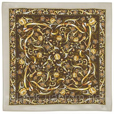 Серпантин 1430-2, павлопосадский шейный платок (крепдешин) шелковый с подрубкой