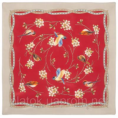 Звонкое утро 10040-6, павлопосадский шейный платок (крепдешин) шелковый с подрубкой