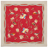 Звонкое утро 10040-6, павлопосадский шейный платок (крепдешин) шелковый с подрубкой, фото 2