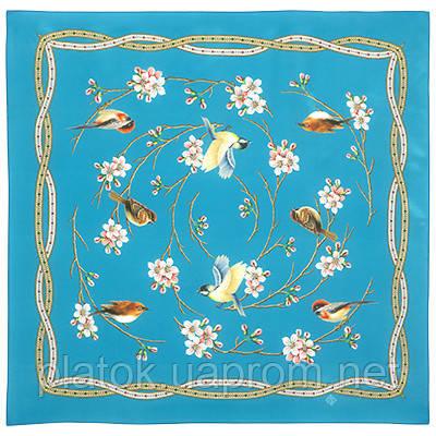 Звонкое утро 10040-12, павлопосадский шейный платок (крепдешин) шелковый с подрубкой