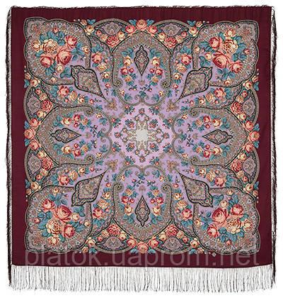 Розовые дали 1639-6, павлопосадский платок шерстяной (двуниточная шерсть) с шелковой бахромой