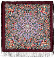 Розовые дали 1639-6, павлопосадский платок шерстяной (двуниточная шерсть) с шелковой бахромой, фото 1