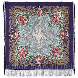 Секрет успеха 1635-13, павлопосадский платок шерстяной (двуниточная шерсть) с шелковой бахромой