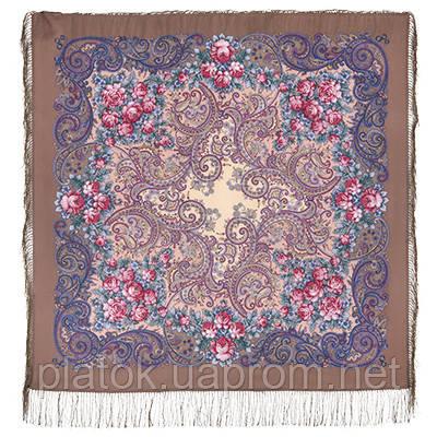 Секрет успеха 1635-16, павлопосадский платок шерстяной (двуниточная шерсть) с шелковой бахромой