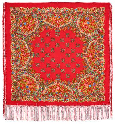 Медальоны 928-4, павлопосадский платок (шаль) из уплотненной шерсти с шелковой вязанной бахромой