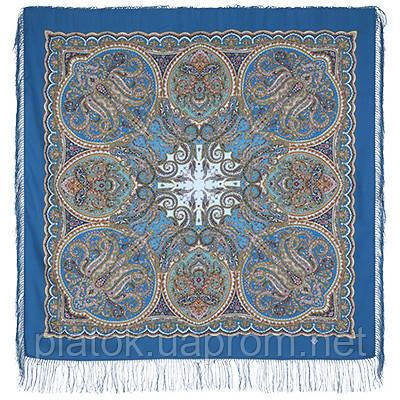 Ночная серенада 1637-13, павлопосадский платок шерстяной (двуниточная шерсть) с шелковой бахромой