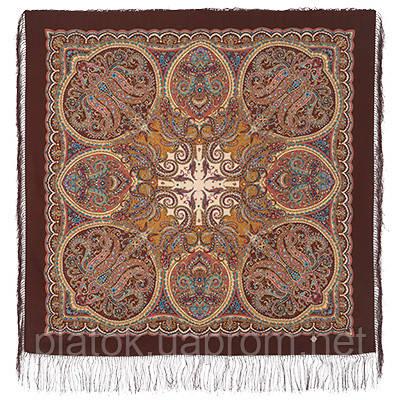 Ночная серенада 1637-17, павлопосадский платок шерстяной (двуниточная шерсть) с шелковой бахромой