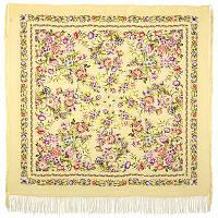 Цветущая весна 1562-2, павлопосадский платок (шаль, крепдешин) шелковый с шелковой бахромой