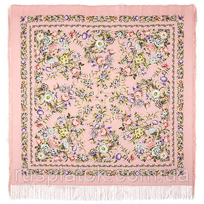 Цветущая весна 1562-3, павлопосадский платок (шаль, крепдешин) шелковый с шелковой бахромой
