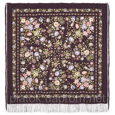 Цветущая весна 1562-8, павлопосадский платок (шаль, крепдешин) шелковый с шелковой бахромой