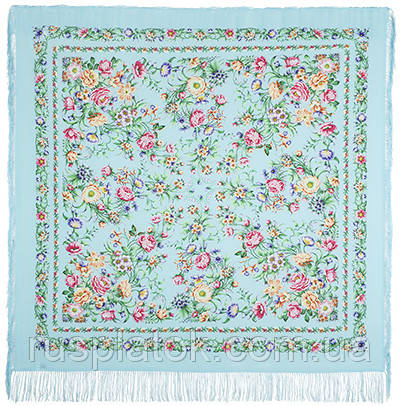 Цветущая весна 1562-1, павлопосадский платок (шаль, крепдешин) шелковый с шелковой бахромой Стандартный сорт