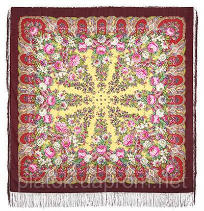 Лукоморье 1555-7, павлопосадский платок шерстяной  с шелковой бахромой