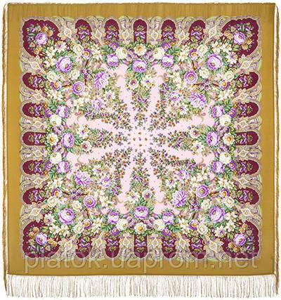 Лукоморье 1555-1, павлопосадский платок шерстяной  с шелковой бахромой