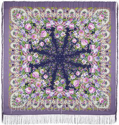 Лукоморье 1555-2, павлопосадский платок шерстяной  с шелковой бахромой