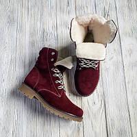Крутые женские зимние ботинки тимберленды бордовые натуралки 36-41 размер, зимние ботинки Timberland