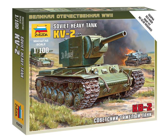 Советский тяжелый танк КВ-2. Сборная модель, сборка без клея. 1/100 ZVEZDA 6202