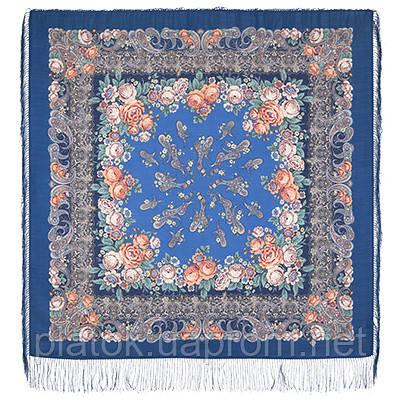 Сказка на ночь 1573-14, павлопосадский платок шерстяной с шелковой бахромой