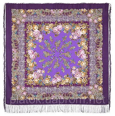 Сказка на ночь 1573-15, павлопосадский платок шерстяной с шелковой бахромой