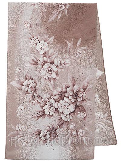 Лунная мелодия 1513-3, павлопосадский шарф шелковый крепдешиновый с подрубкой