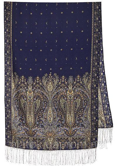 Русалка 1156-64, павлопосадский шарф-палантин шерстяной с шелковой бахромой