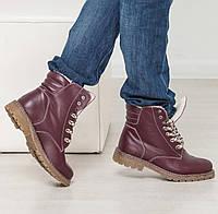 Удобные женские зимние ботинки как  тимберленды бордовые натуралки 36-41 размер, зимние ботинки Timberland