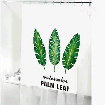 Шторка-занавеска для ванны/душа 180х180 PEVA (пальмовые листья) HS14