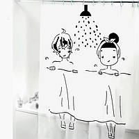 Шторка-занавеска для ванны/душа 180х180 PEVA (мальчик и девочка)