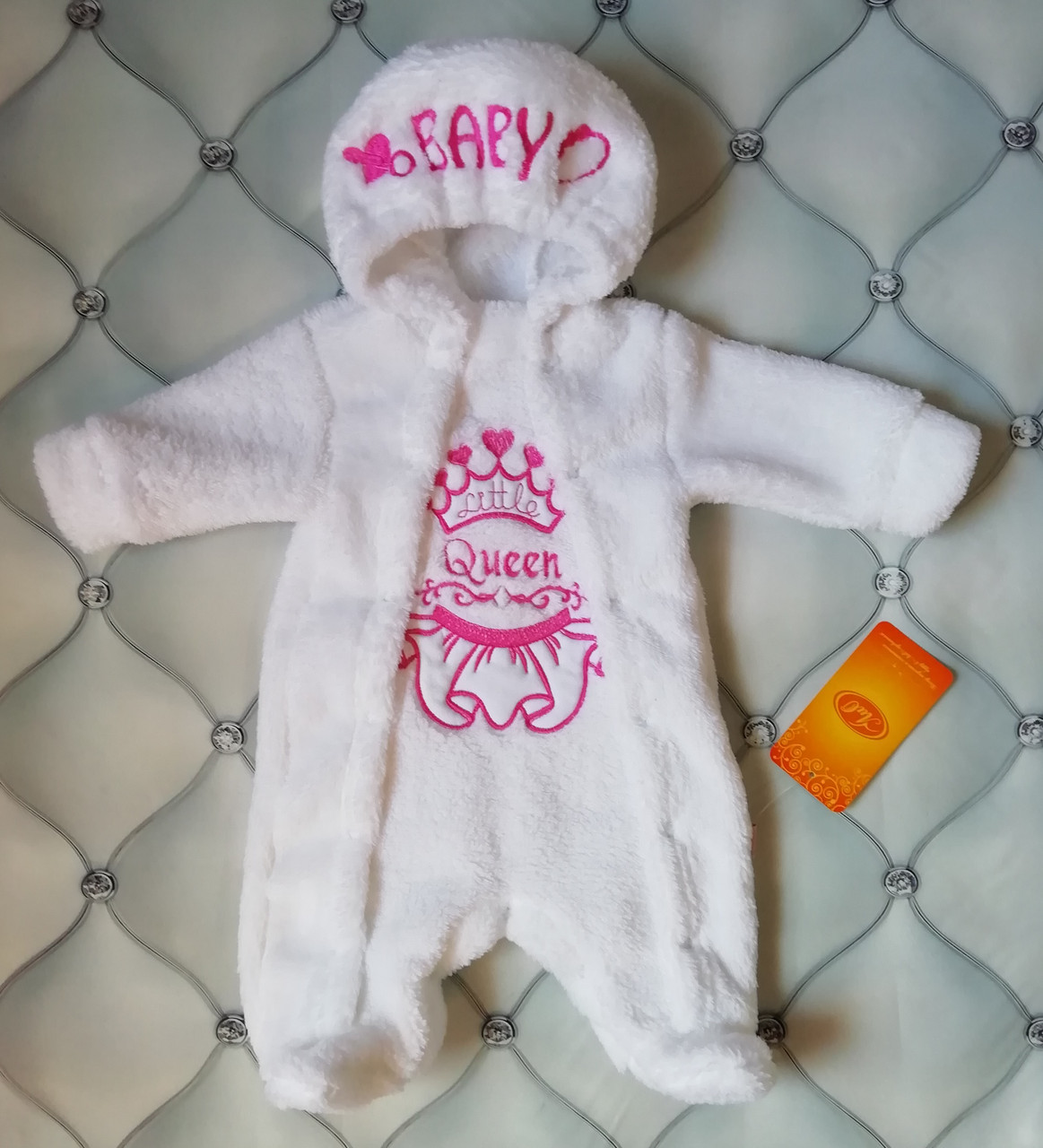 Комбинезон махровый Маленькая королевна, р. 56, для новорожденных
