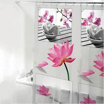 Шторка-занавеска для ванны/душа 180х180 PEVA (цветок) HS14