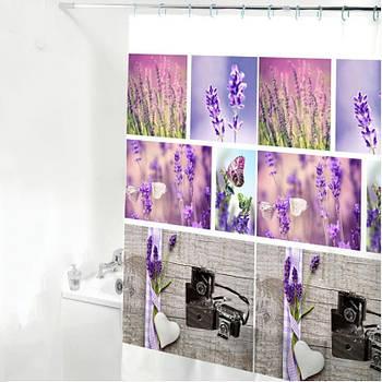 Шторка-занавеска для ванны/душа 180х180 PEVA (цветы) HS14