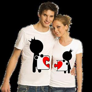 """Парные футболки """"Человечки пазлы"""" белые"""