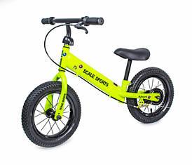 Детский велобег Scale Sports Cheerful с ручным тормозом и регулировкой роста (Green)