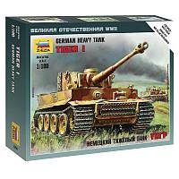 """Немецкий тяжёлый танк """"Тигр"""". Сборная модель, сборка без клея. 1/100 ZVEZDA 6256"""