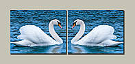 "Модульная картина на холсте  из 2-х частей ""Лебеди"""