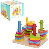 Деревянная игра для малышей пирамидка - ключ, сортер, геометрия,логическая пирамидка, 0061